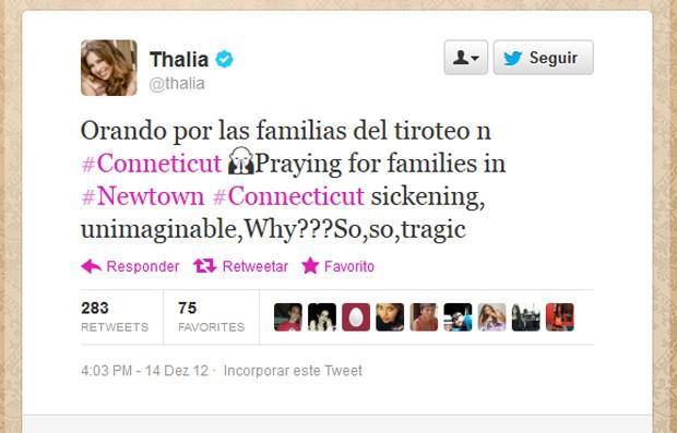 Cantora Thalia se pronuncia sobre tragédia (Foto: Reprodução)