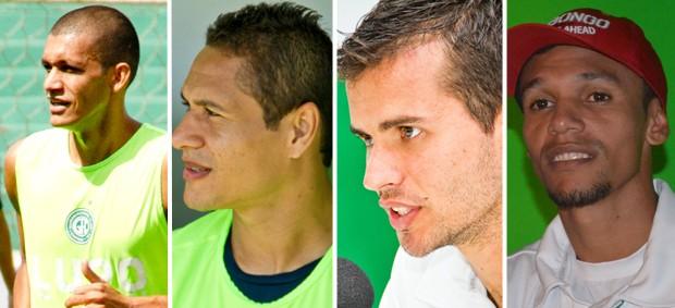 Bruno Recife, Fábio Bahia, Danilo Sacramento e Fabinho são os únicos titulares do Guarani para a estreia da Série B (Foto: Editoria de Arte / Globoesporte.com)