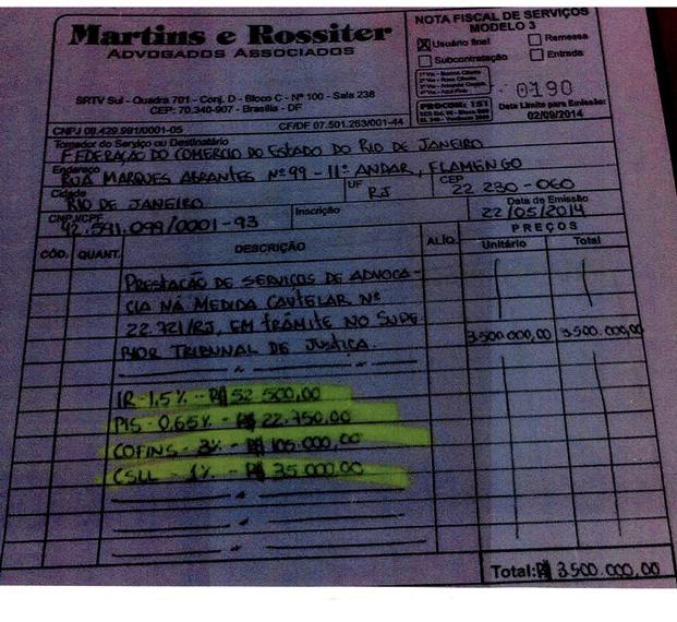 Nota fiscal emitida por Eduardo Martins em 2014 para os serviços da medida cautelar (Foto: Reprodução)