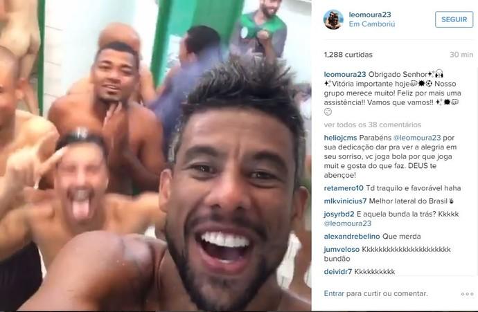 Leo Moura Metropolitano vestiário jogador pelado (Foto: Reprodução / Instagram)