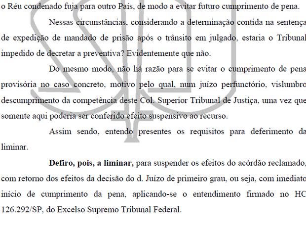 Decisão do STJ que determina prisão imediata do ex-deputado Carlos Xavier (Foto: Reprodução)