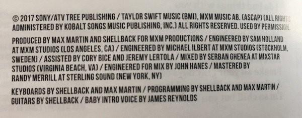 Os créditos do novo disco de Taylor Swift com o nome da filha de Ryan Reynolds e Blake Lively, James Reynolds (Foto: Reprodução)