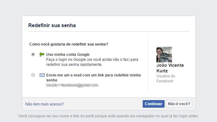 Facebook oferece várias formas para usuários recuperarem acesso a conta (Foto: Reprodução/Facebook)