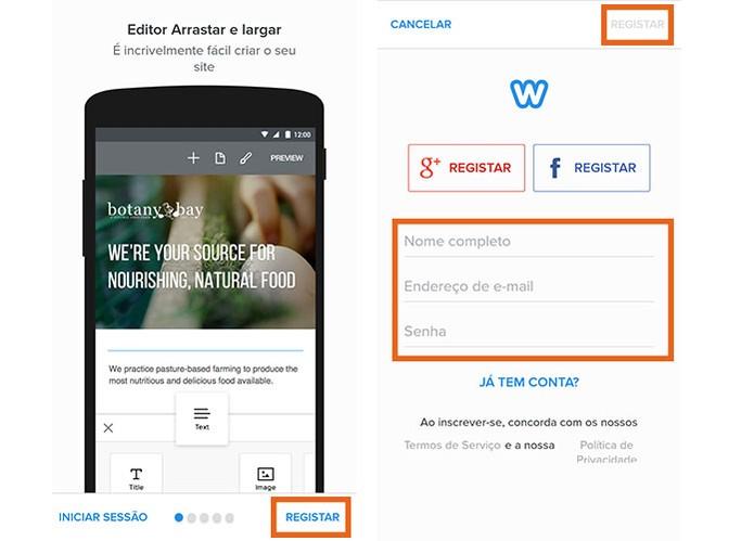 Faça o cadastro no Weebly para criar seu blog grátis (Foto: Reprodução/Barbara Mannara)