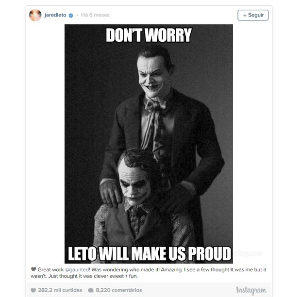 Post de Jared Leto no Instagram (Foto: Reprodução/Instagram)