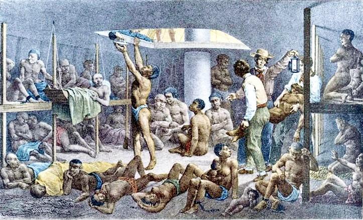 Pintura feita pelo alemão Johann Moritz Rugendas, em 1830, mostra interior de navio negreiro, que chegava ao Brasil com escravos africanos (Foto: Johann Moritz Rugendas/Creative Commons)
