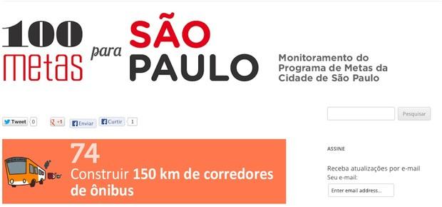 Monitoramento da meta 74 no site 100 Metas para São Paulo (Foto: Reprodução)