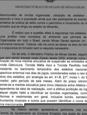 Ata Ministério Publico de Minas Gerais - Torcidas (Foto: Reprodução )