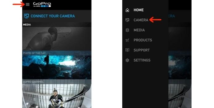 Indicações no app da GoPro para entrar no menu camera (Foto: Reprodução/Raquel Freire)