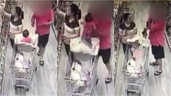 Imagens mostram momento em que homem pegou a criança no colo (Foto: Reprodução / YouTube)