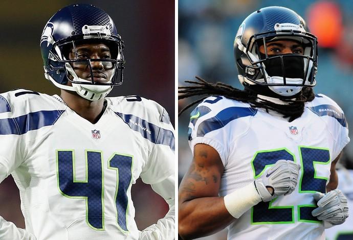 Montagem Byron Maxwell e Richard Sherman, NFL seattle seahawks (Foto: Montagem sobre foto da Getty Images)