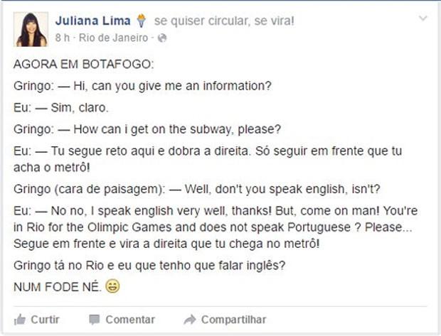 Brasileira conta que não quis ajudar estrangeiro a encontrar o metrô no Rio de Janeiro.  (Foto: Reprodução/The Wall Street Journal)