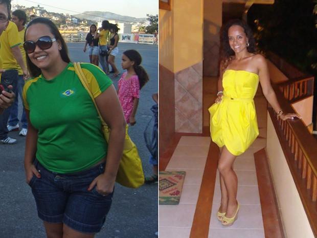 Com 22 kg a menos na balança, ela recuperou a disposição para dar aulas para as crianças; fotos mostram antes e depois de Glaucielle perder peso (Foto: Arquivo pessoal)