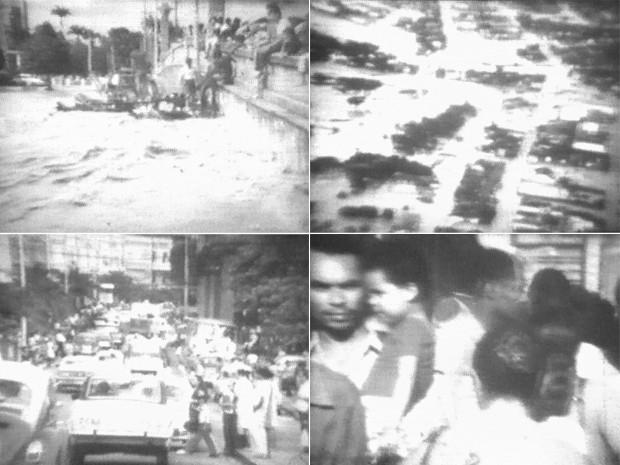 Cheia de 1975 começou numa quinta-feira, em 17 de julho, devastando os principais bairros da cidade. O Rio Capibaribe e diversos canais transbordaram, alagando áreas inteiras. Imagens da época mostram ruas intransitáveis e milhares de pessoas desalojadas (Foto: Reprodução / TV Globo)