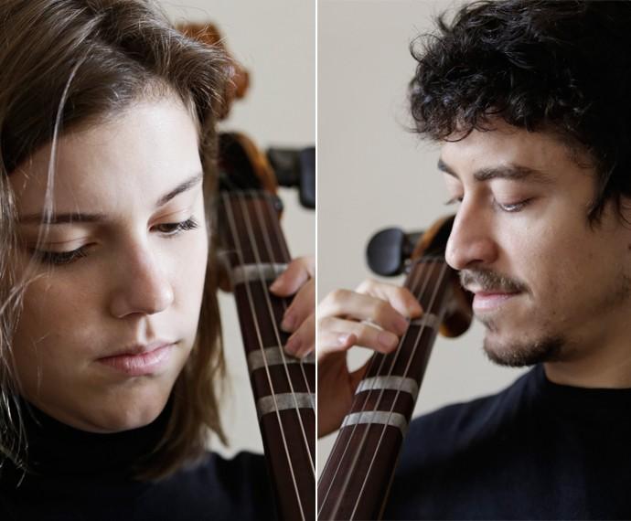 Jesuíta e Alice mostram familiaridade com o instrumento  (Foto: Gabriel Nascimento/Gshow)
