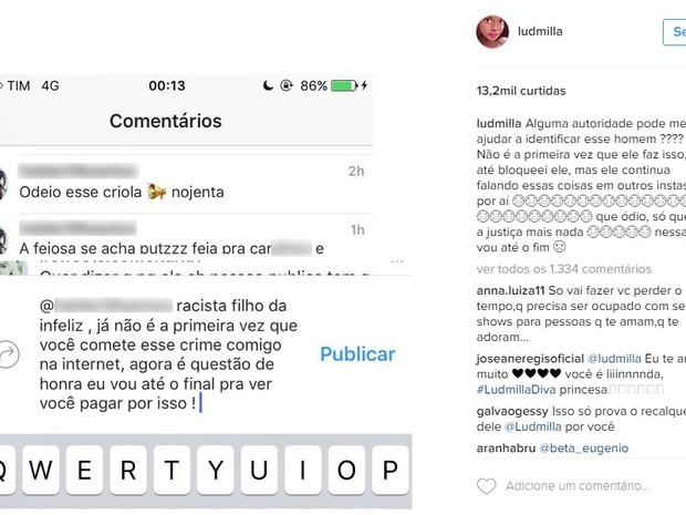 Ludmilla postou um desabafo na internet após comentários racistas (Foto: Reprodução / Internet)