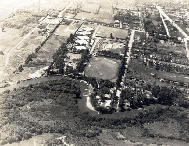 Vista aérea a partir da avenida Cidade Jardim, tirada em 1933 (Foto: Acervo Centro Pró Memória Hans Nobiling)
