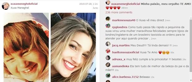 Xuxa parabeniza Sasha pelos 17 anos (Foto: Reprodução/Instagram)
