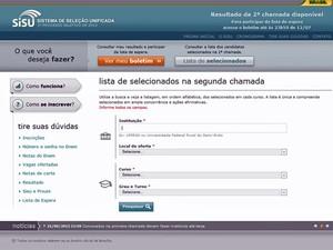Para ter acesso à lista, é preciso clicar no botão 'lista de selecionados' (Foto: Reprodução)