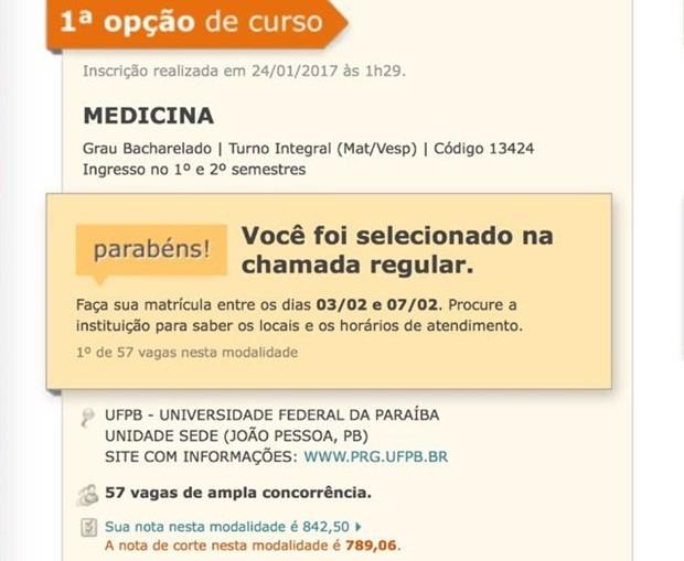 Fábio Serra conseguiu o primeiro lugar no curso de Medicina, na Universidade Federal da Paraíba (Foto: Reprodução/Sisu)