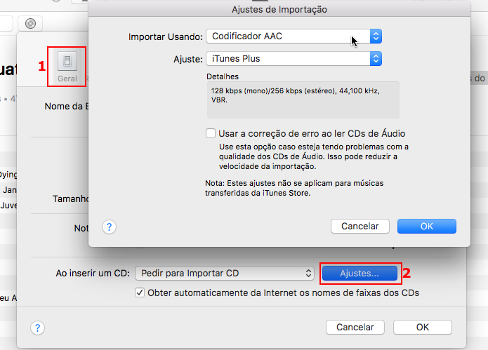 Modificando os ajustes de importação do iTunes (Foto: Reprodução/Edivaldo Brito)