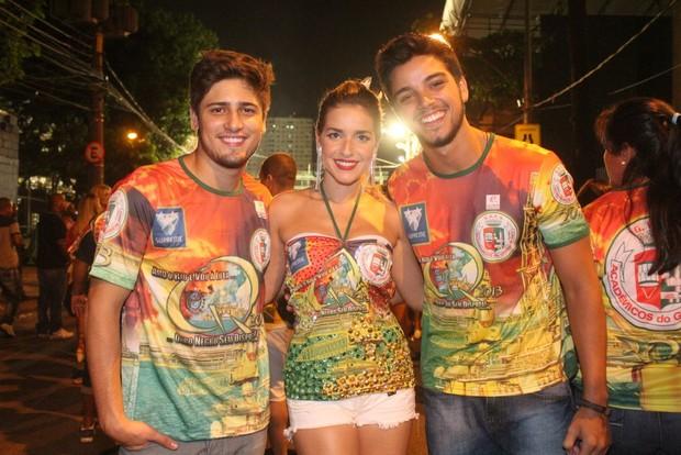 Daniel Rocha, Monique Alfradique e Rodrigo Simas em ensaio na Marquês de Sapucaí (Foto: Rodrigo dos Anjos/ Ag. News)