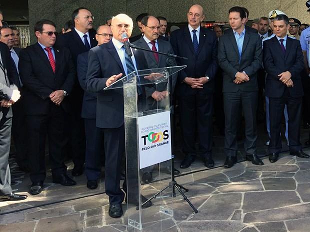 Ministro da Justiça, Osmar Serraglio, em evento no Rio Grande do Sul (Foto: Cristine Galissa/RBS TV)