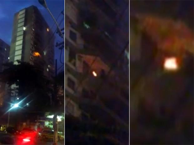 Imagens mostram fogo em imóvel que explodiu em São Conrado, no Rio (Foto: Reprodução/TV Globo)