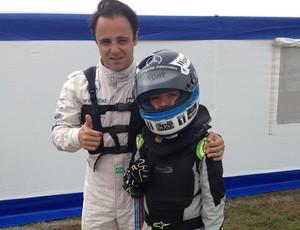 Andrew Marciel, piloto de kart filho de paraibano, com Felipe Massa (Foto: Arquivo Pessoal / Andrew Marciel)
