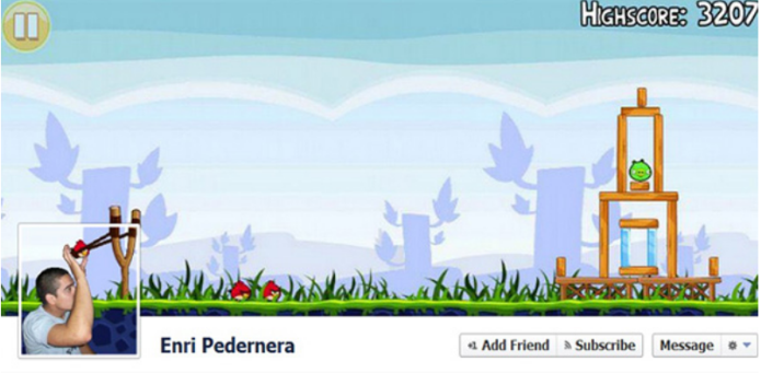 Foto de perfil e a foto de capa dão ilusão que o usuário está jogando Angry Birds (Foto: Reprodução/Catraca Livre)
