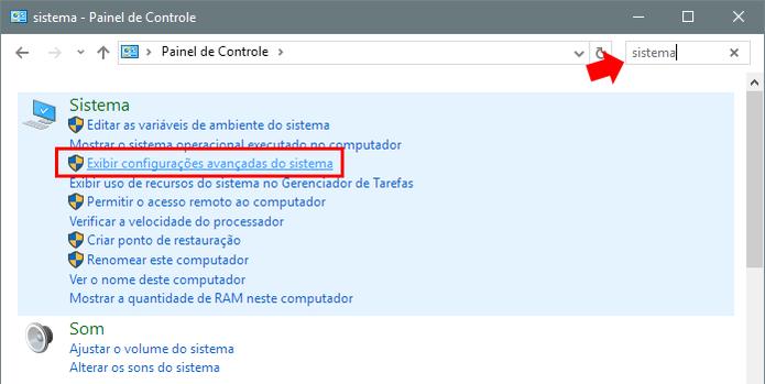 Acesse as configurações avançadas do Windows (Foto: Reprodução/Paulo Alves)