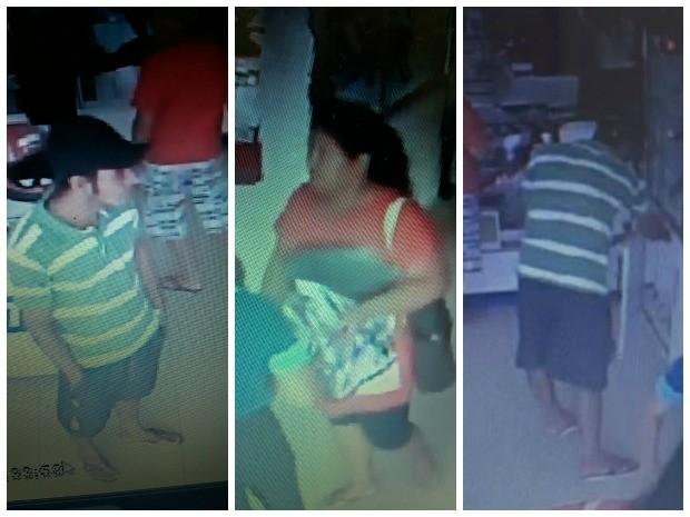 Imagens mostram mulher distraindo vendedora enquanto o homem furta os aparelhos (Foto: Arquivo pessoal)