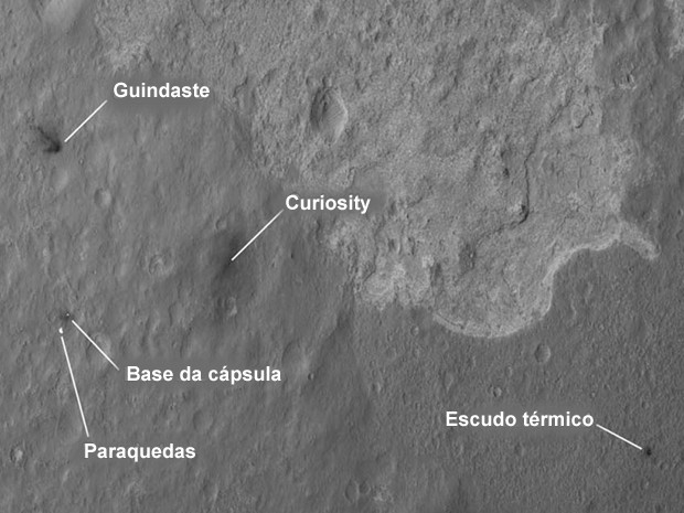 Curiosity pouso (Foto: Nasa/JPL-Caltech)