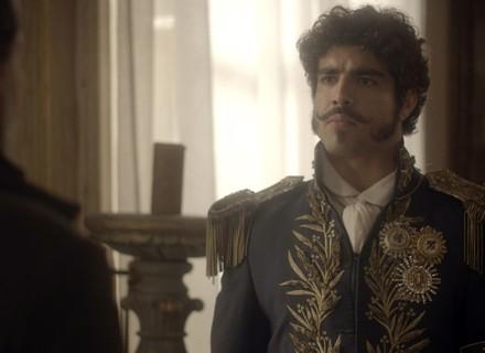 Pedro descobre que Bonifácio dormiu em sua casa e eles brigam por Leopoldina