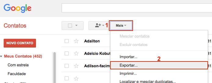 Acessando a opção de exportação na antiga interface dos contatos (Foto: Reprodução/Edivaldo Brito)
