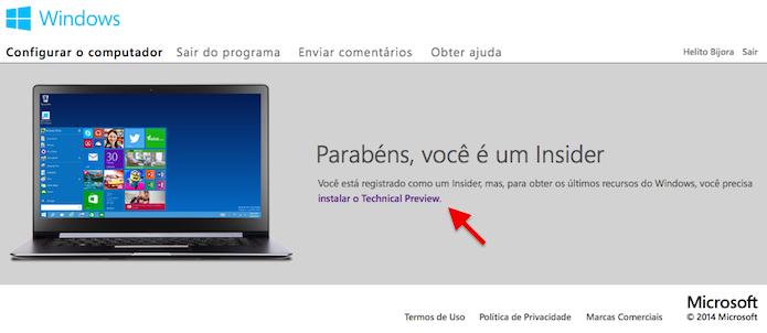 Clique no link para baixar o Windows 10 (Foto: Reprodução/Helito Bijora)