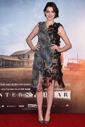 Anne Hathaway em pré-estreia de filme em Nova York, nos Estados Unidos (Foto: Andrew H. Walker/ Getty Images/ AFP)
