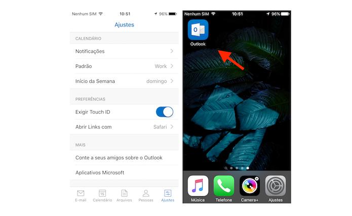 Ativando o Touch ID para o Outlook no iPhone (Foto: Reprodução/Marvin Costa)
