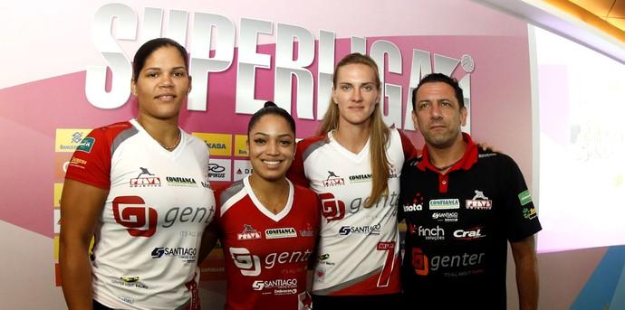 Vôlei Bauru, Superliga, lançamento, Rivera, Brenda, Mari, Kwiek (Foto: Divulgação / CBV)