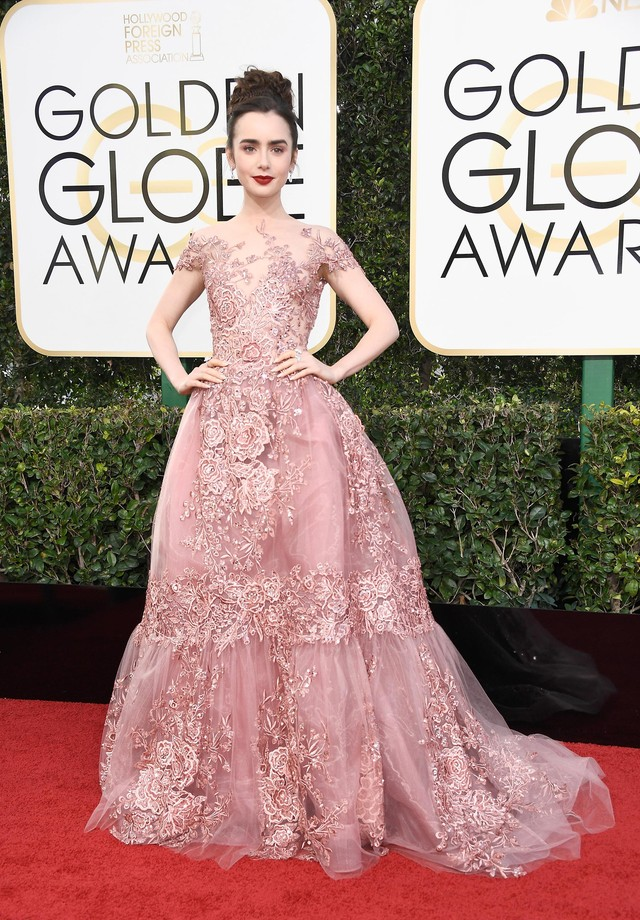 Lily Collins veste Zuhair Murad (Foto: Getty Images)