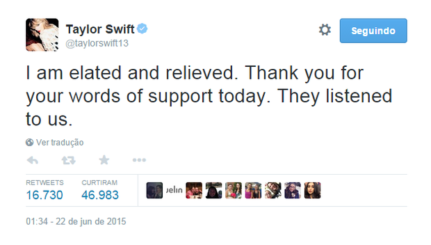 Taylor Swfit no Twitter (Foto: Reprodução)