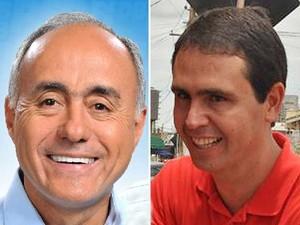 O tucano Tião Bocalom (esquerda) e o petista Marcus Alexandre, candidatos que foram para o segundo turno em Rio Branco, no Acre (Foto: Reprodução)