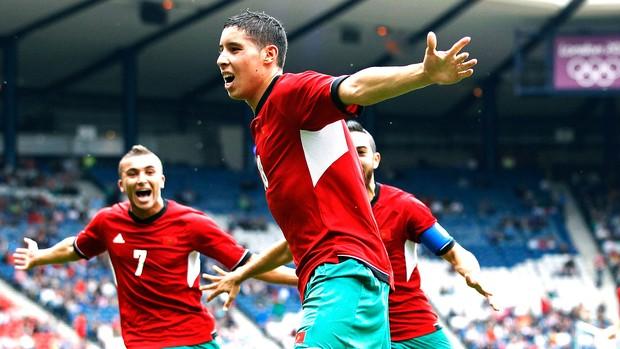 Abdelaziz Barrada comemora gol do Marrocos contra Honduras (Foto: Reuters)