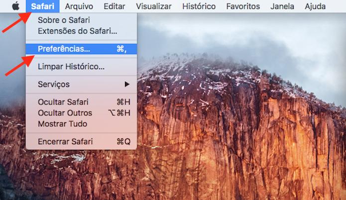 Acessando as preferências do Safari no Mac OS (Foto: Reprodução/Marvin Costa)