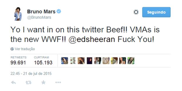 Bruno Mars em post no Twitter (Foto: Reprodução)