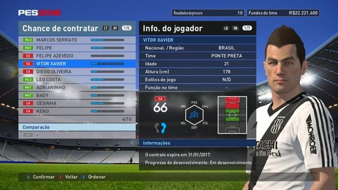 Vitor, da Ponte, tem números fracos em PES 2016 (Foto: Reprodução/Murilo Molina)