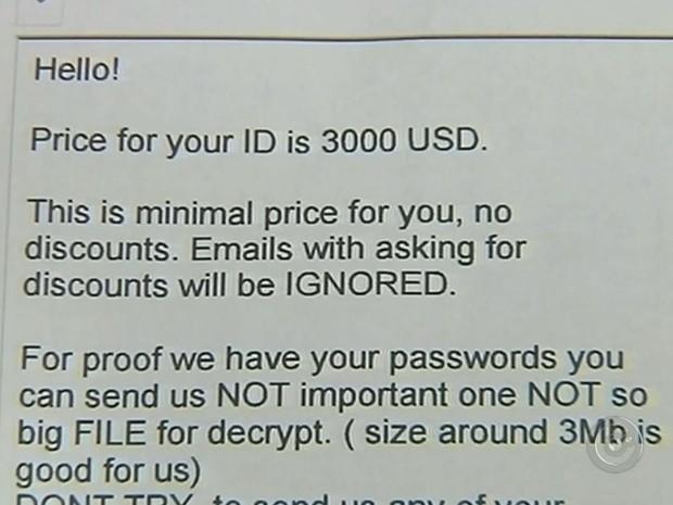 Hacker enviou carta pedindo resgate (Foto: Reprodução / TV TEM)
