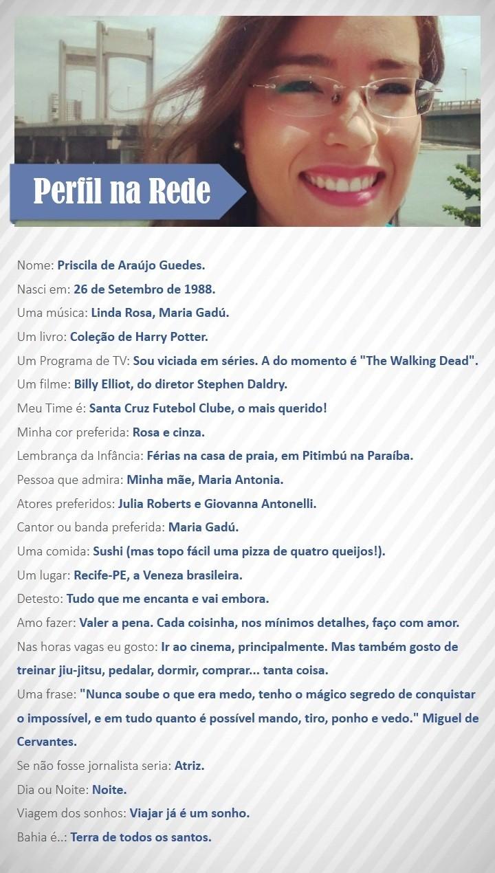 Perfil na Rede com Priscila Guedes (Foto: Divulgação / Rede Bahia)