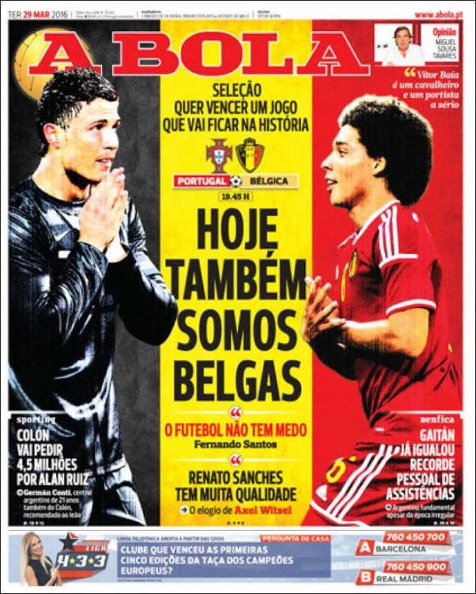 """BLOG: Antes de amistoso, jornal português diz: """"Hoje também somos belgas"""""""