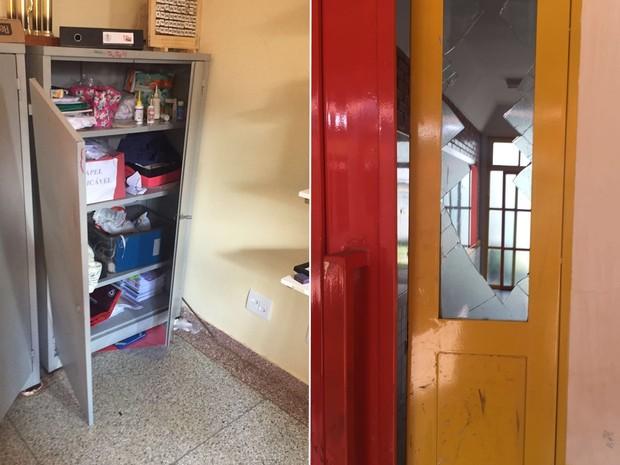 Escolas ocupadas foram alvo de vandalismo segundo direção das unidades, em Goiânia, Goiás (Foto: Divulgação/PM)
